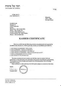 Kasher certificate